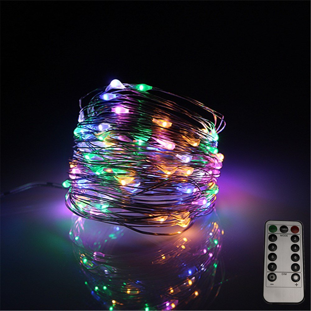 LEDLuces 10M/33ft 100 LEDs String Lights, USB Powered Low Voltage Waterproof 8 Modes With Remote Control For Decoration - Silver Wire(RGB) by LEDLuces