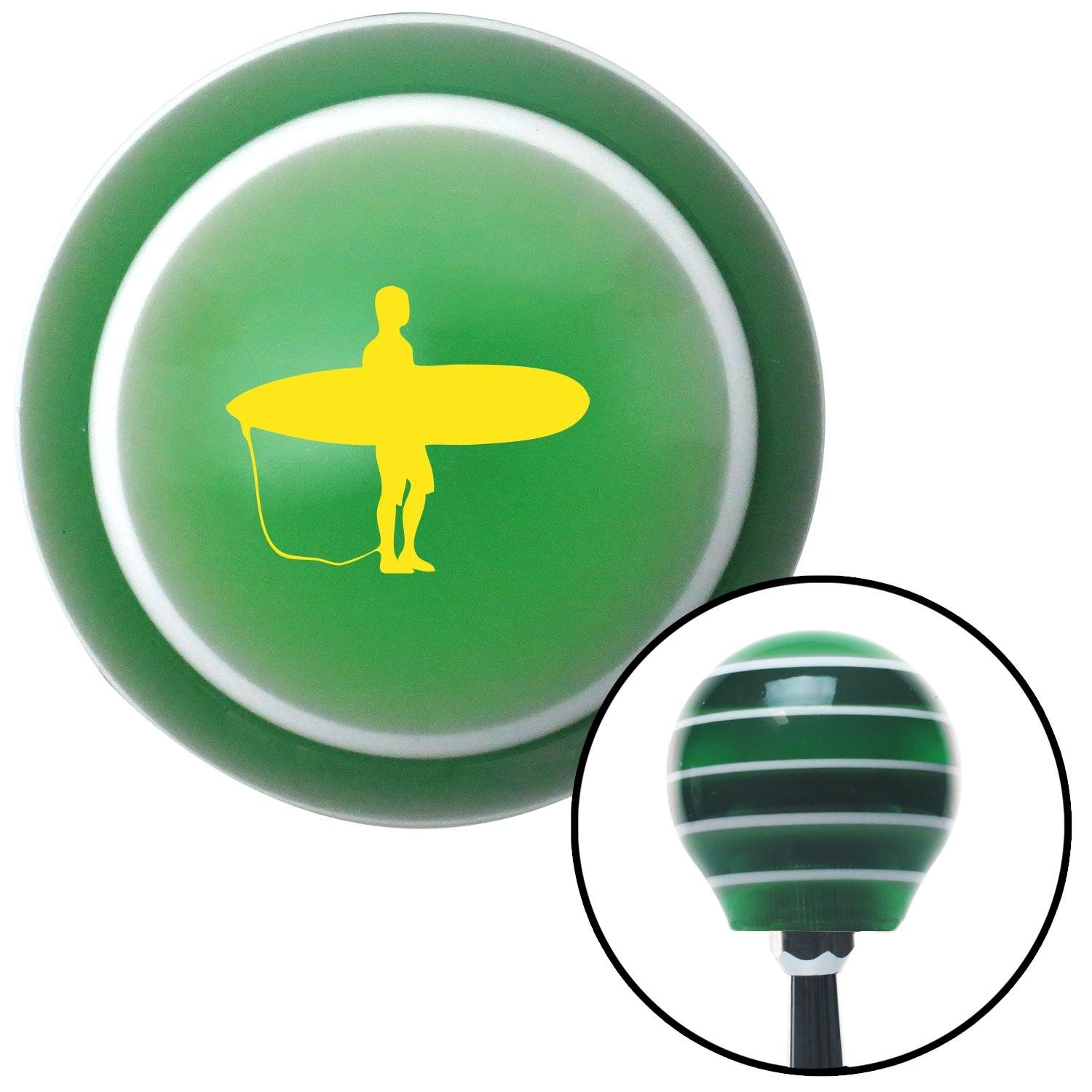 American Shifter 128454 Green Stripe Shift Knob with M16 x 1.5 Insert Yellow Surfer