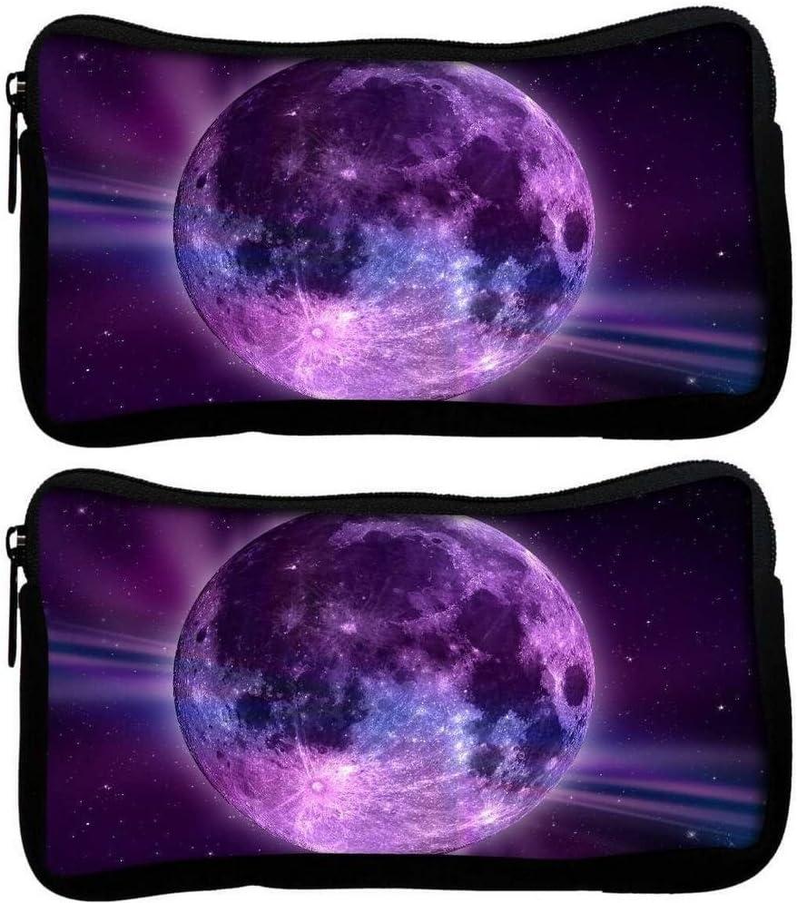 Snoogg Pack De 2 Tela Fantasía Luna estudiante pluma lápiz caso bolsa de cosméticos bolsa de monedero: Amazon.es: Oficina y papelería