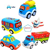 FunBlast Unbreakable Pull Back Vehicles| Push and Go Crawling Toy, Power Friction Cars for 3+ Years Old Boys|Girls (Set of 5)
