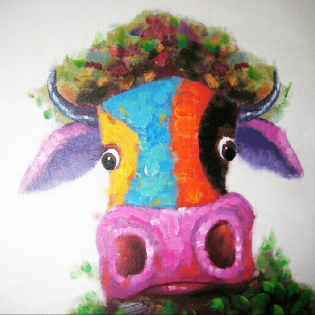 Cattle Oil Painting Modern Art Handpainted on Canvas Wall Decor Art Good Gift (24x24in, Cattle 2)