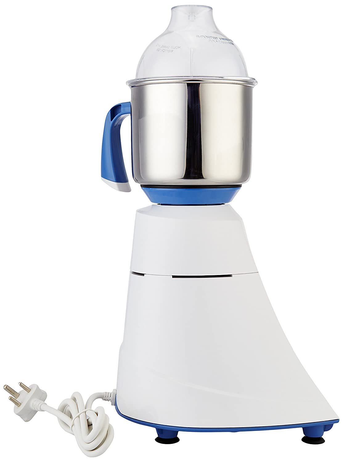 Preethi Blue Leaf Diamond 750-Watt Mixer Grinder, 3-Piece, Blue/White