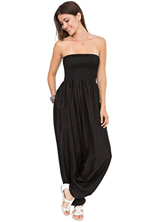 92edf0c044cb Amazon.com  Silk Look Maxi Harem Pants Jumpsuit Romper Black