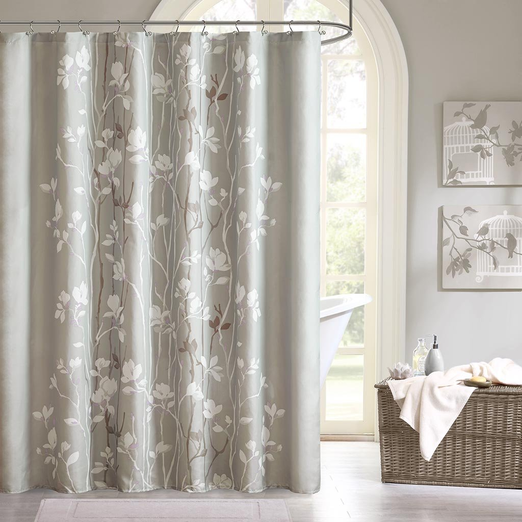 Amazon.com: Madison Park Vaughn Floral Tree Taupe Shower Curtain ...