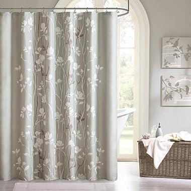 Madison Park MPE70-124 Essentials Vaughn Shower Curtain 72x72 Grey