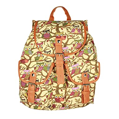 Owbb Yellow Owl Bohemia Style Canvas Backpack for Women Girls Ladies Casual Vintage Fashionable Bag