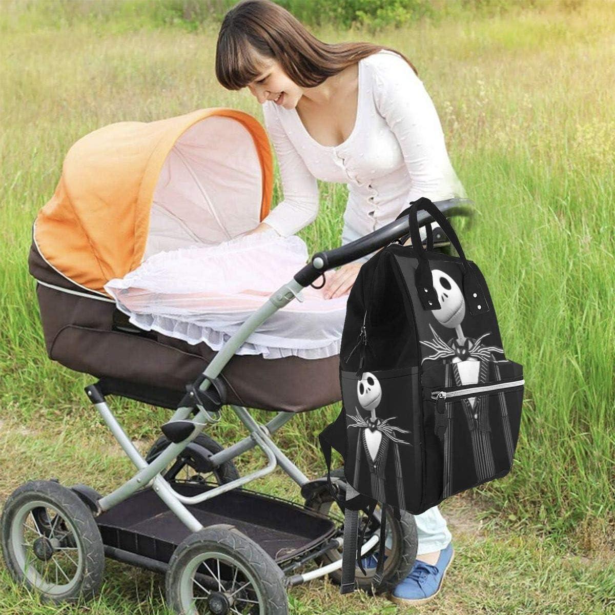 Jack Skellington Mochila de Viaje Impermeable multifunci/ón Bolsas para Cambiar pa/ñales para beb/és de Maternidad Mochila para pa/ñales