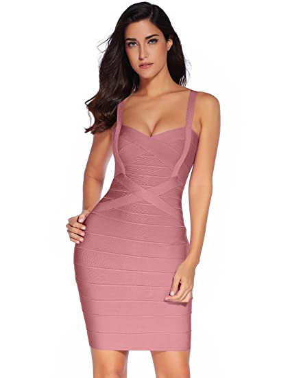 a5fa6f5254069 Meilun Women's Celebrity Bandage Bodycon Dress Strap Party Pencil Dress