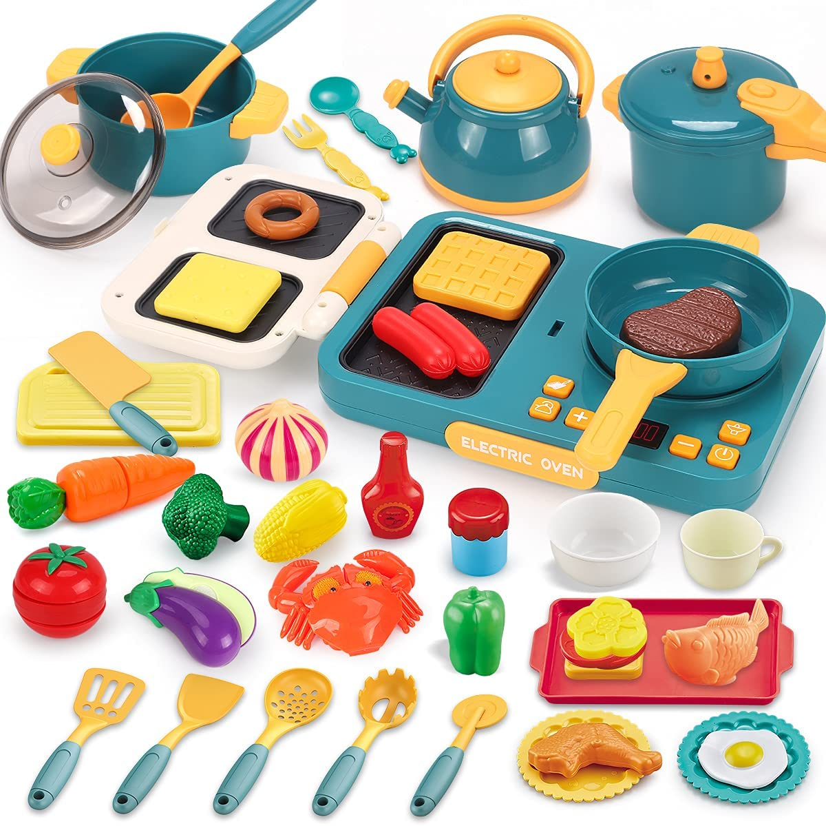 KaeKid Kids Kitchen Pretend Play Toys Cookware Playset, Kitchen Accessories Cooking Pots and Pans Electronic Induction Cooktop Set, Cutting Play Food Dishes Utensils for Toddlers Boys Girls