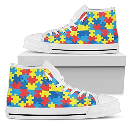 3de7d9b82de9da Amazon.com  R. Malone Autism Awareness High Tops Shoes Idea Gift for People  Relate to Autism Spectrum Disorder  Sports   Outdoors