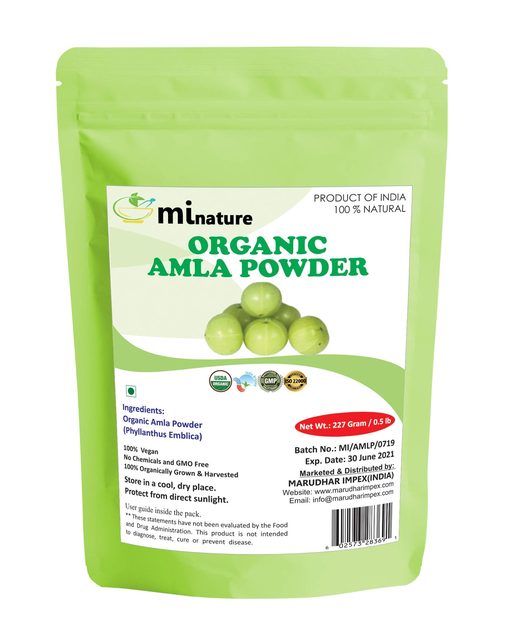 mi nature USDA Organic Amla Powder (Amalaki),227 gm / 0.5 lb, Powerful Immune System and Energy Booster, 100% Raw Superfoods From India, Non-Irradiated, Non-Contaminated, Non-GMO and Vegan Friendly by mi nature