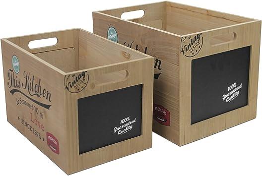 2 piezas. Juego de cajas con pizarra y asas Vintage Caja de madera decorativa caja caja para guardar Caja de madera: Amazon.es: Bricolaje y herramientas