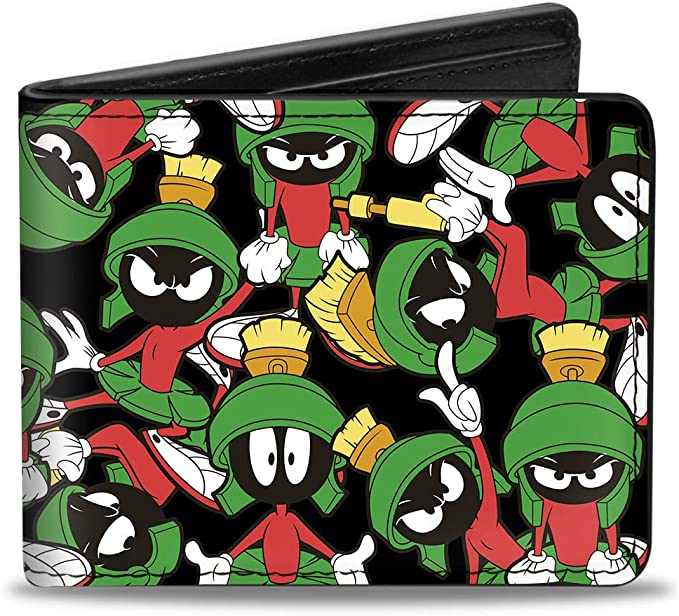 Buckle-Down PU Bifold Wallet - Marvin the Martian Poses Scattered Black