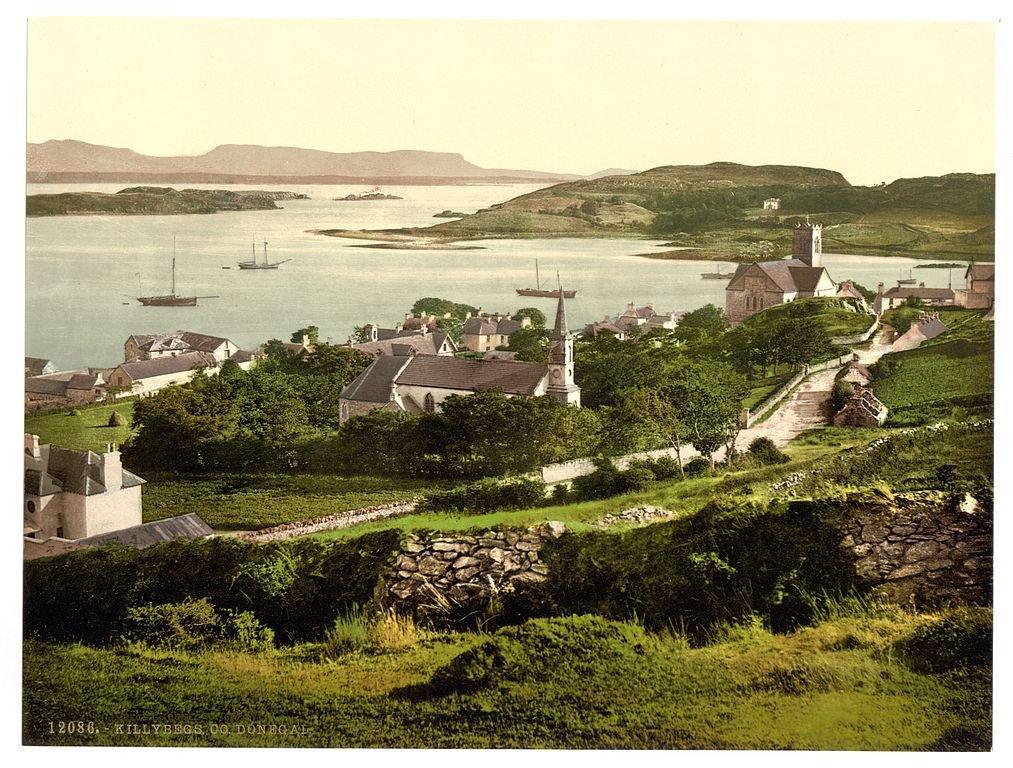 Viktorianische Ansicht von Killybegs, County Donegal, Irland, groß, A3Größe 41von 28cm auf Leinwand; texturiertes Papier, Fotodruck groß OFA Photochroms