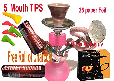 Hookah,2 Hose,Water Shisha Bong Glass Smoking,Free charcoal &Mouth tips,
