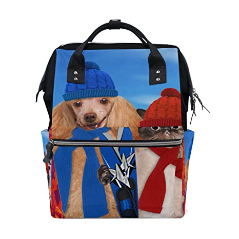 TIZORAX Poodle - Mochila con diseño de perro y gato con pañales de esquí, gran