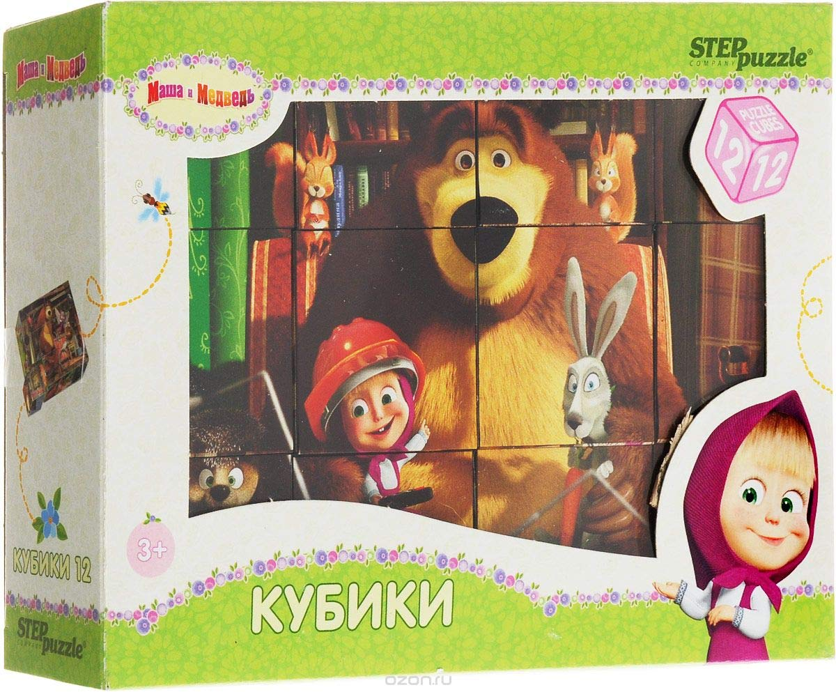 Favorite Cartoon Characters Children Toys RusToyShop 12psc Plastic Cubes Masha and The Bear 4.8 x 3.2 x 1.6 inches Cartoon Puzzles Collect Blocks konfitreid SG/_B079H2RNG2/_US