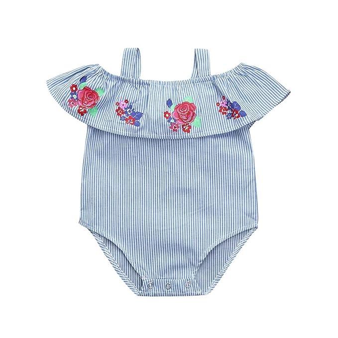 PAOLIAN Monos Ropa para bebé niñas Verano Sin tirantes Mameluco Impresion de Floral y Rayas Fiesta