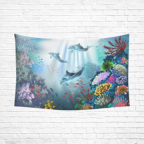 INTERESTPRINT Cute Animal Wall Art Home Decor, Underwater World with Dolphins and Plants Tapestry Wall Hanging Art Sets 90 X 60 Inches