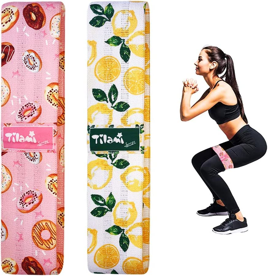 Leg and Butt Booty Bands with Patterns Tilami Fabric Booty Band Set for Home Workout Resistance Bands for Home Exercise Hip Bands Set for Women