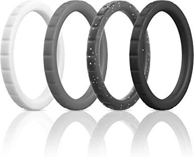 4 Pack Triangle Diamond Stackable Rubber Engagement Bands ThunderFit Thin Silicone Wedding Rings for Women 2mm Thickness 2.8mm Width