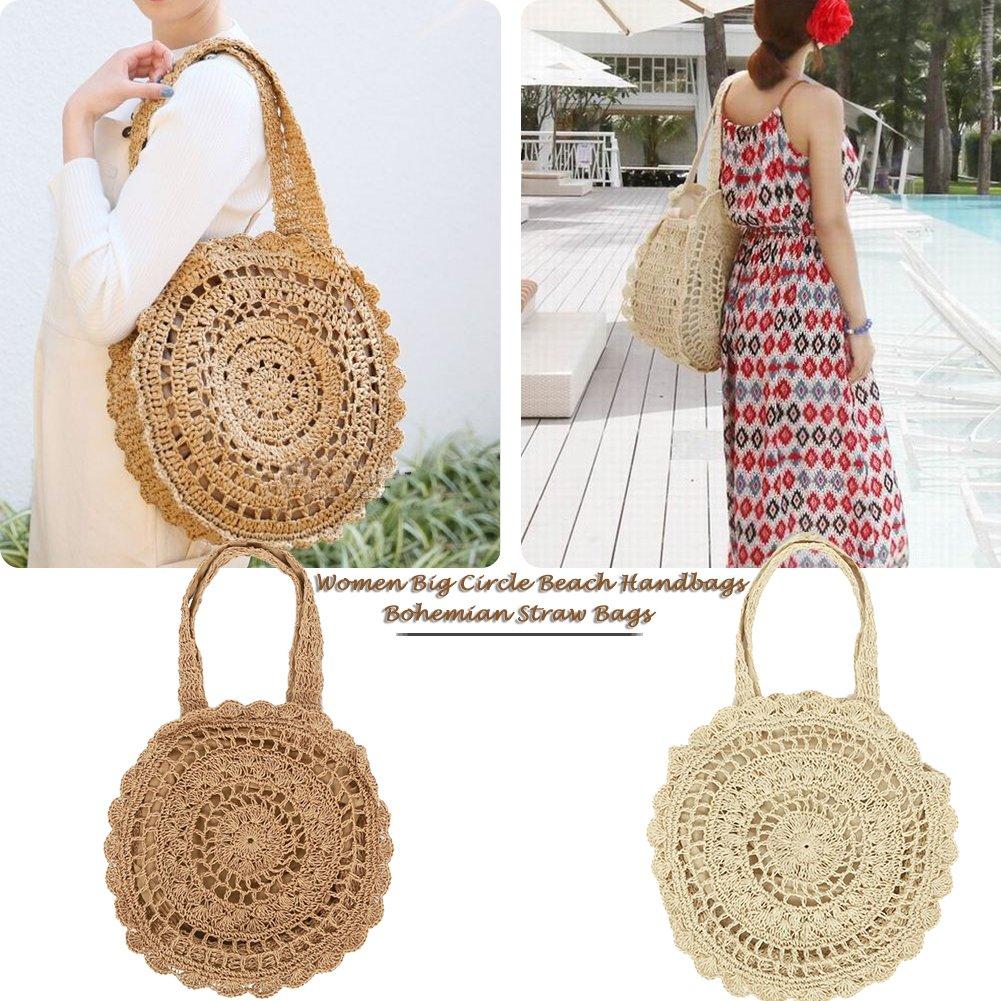 Sue Supply Paper string Storage Bag borsa a spalla grande fiore fatto a mano naturale intrecciata paglia Circle Beach borsetta donne borse della spesa Khaki