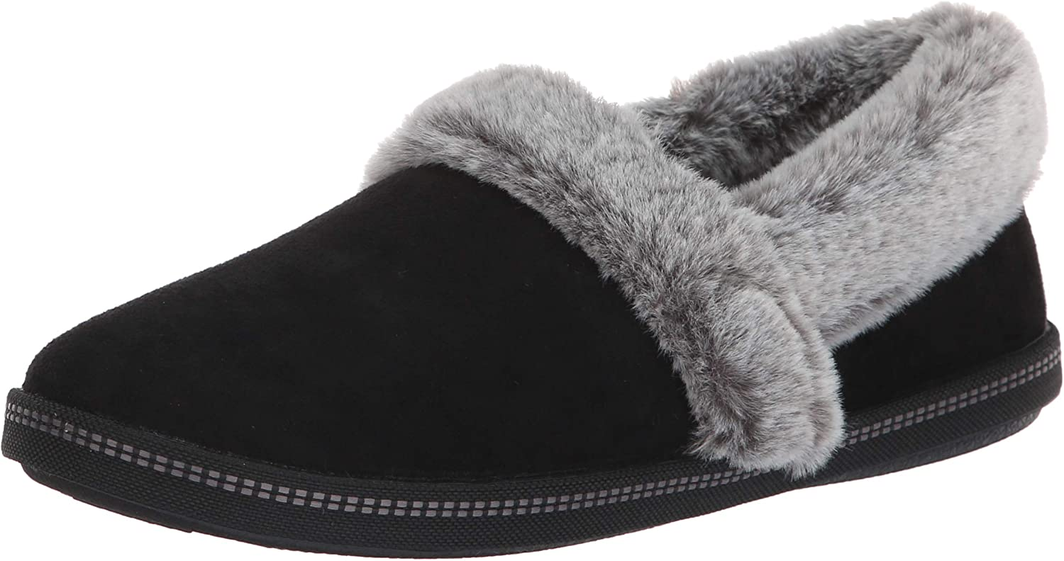 Skechers Women's Cozy Campfire-Team Toasty-Microfiber Slipper with Faux Fur Lining