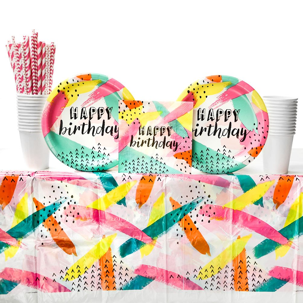 Chic Cupcake Happy Birthday Party Supplies Pack for 16 Guests and Paper Cups Paper Dinner Plates Paper Straws Paper Luncheon Napkins Cupcake Theme Birthday Party Supplies Table Cover
