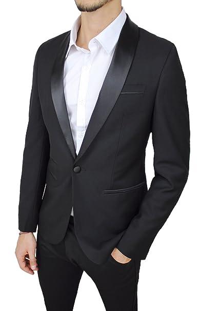 Giacca Uomo Class Sartoriale Nero Raso Lucido Slim Fit Elegante Cerimonia   Amazon.it  Abbigliamento 6ea7e64779b