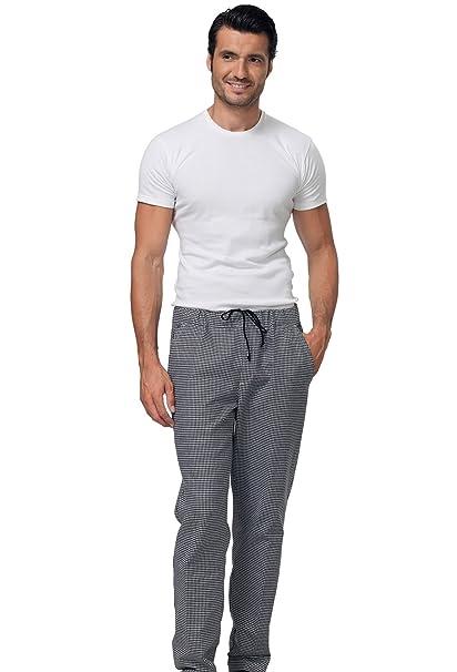 Classico Pantalone 100Cotone Quadretto Siggi Chef Bianco E Nero Da N80XZwOPnk