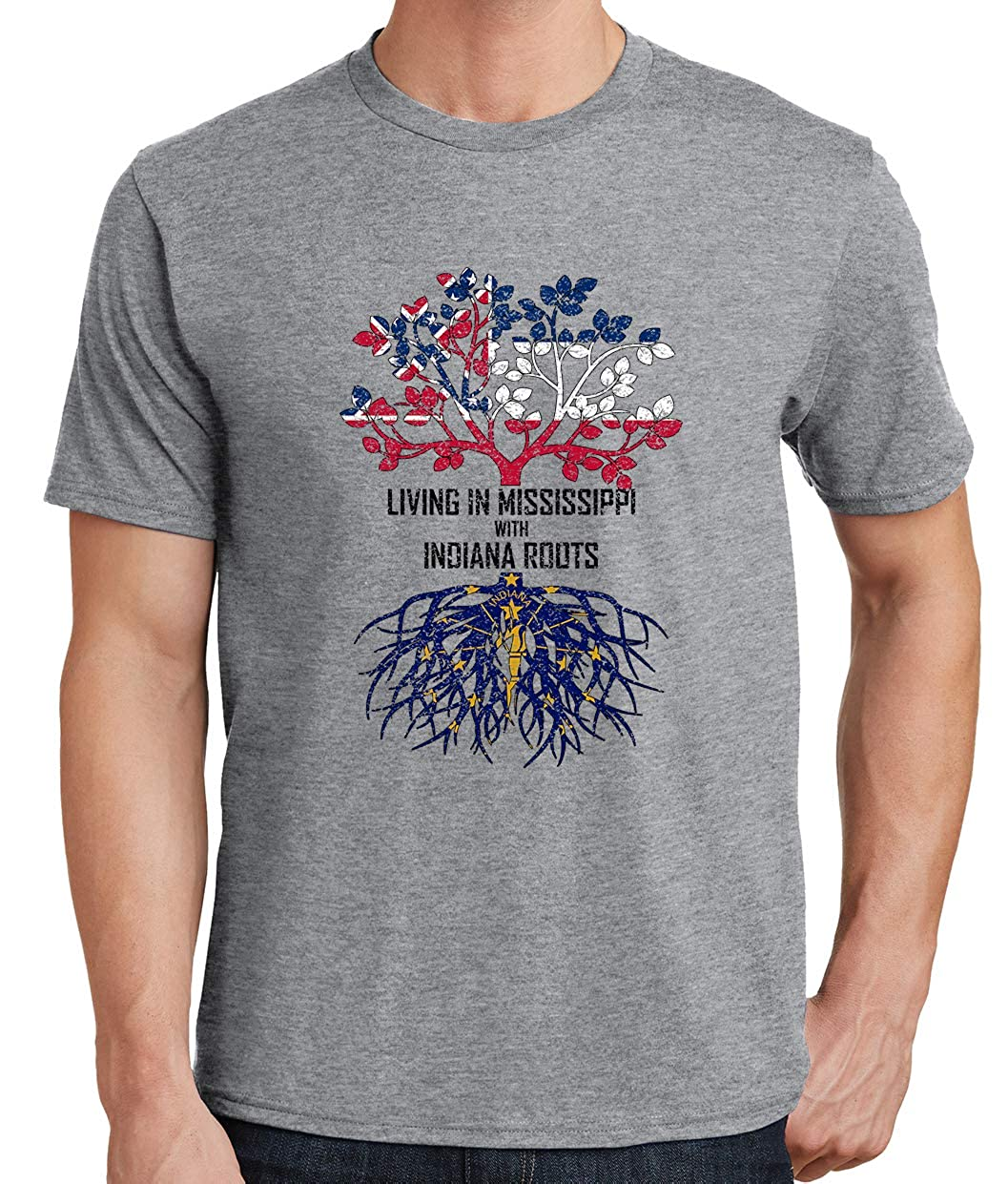 Tenacitee Mens Living in Mississippi with Indiana Roots T-Shirt