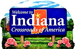 Indiana State Welcome Sign Wood Fridge Magnet 2