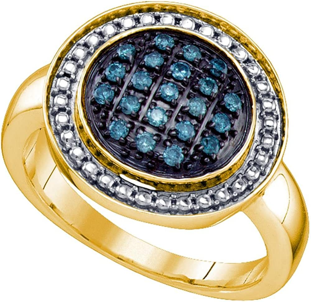 Yellow-tone Sterling Silver Round Blue Diamond Circle Cluster Ring 0.18 Cttw