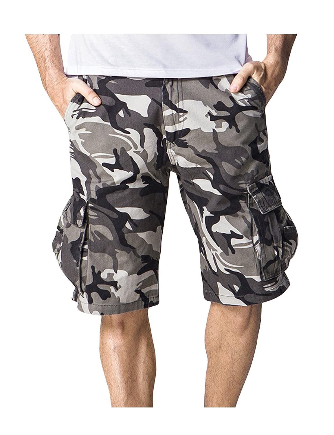 newrong Men's Military Relaxed Fit Twill Shorts XZMYNC0495