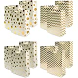 UNIQOOO 12Pcs Premium Assorted Gold Metallic Gift Bags Bulk, Large 12.5''x10.5X4'' 100% Recyclable Paper Retail Shopping Bags, Ribbon Handle/Wedding,Baby Shower, Birthday Party,Christmas Gift Bags