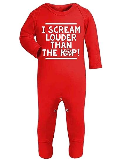 I scream Louder entonces el Kop Liverpool bebé Pelele Babygrow Liverpool fútbol ventilador Novelty rojo rosso