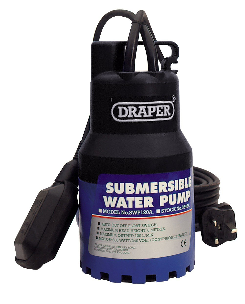 Draper 35464 120-Litres-per-Minute 230-Volt 200-Watt Submersible Water Pump with 6 m Lift and Float Switch