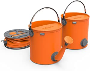 COLOURWAVE Collapsible 2-in-1 Watering Can/Bucket, 7-Liter, Juicy Orange
