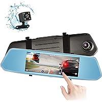 Eagle Eye Telecamera Per Specchietto Retrovisore Telecamera Per Auto Da 7 Pollici Touch Display FHD 1080P, Telecamera Grandangolare Anteriore E Telecamera Posteriore Impermeabile, Monitoraggio Inverso