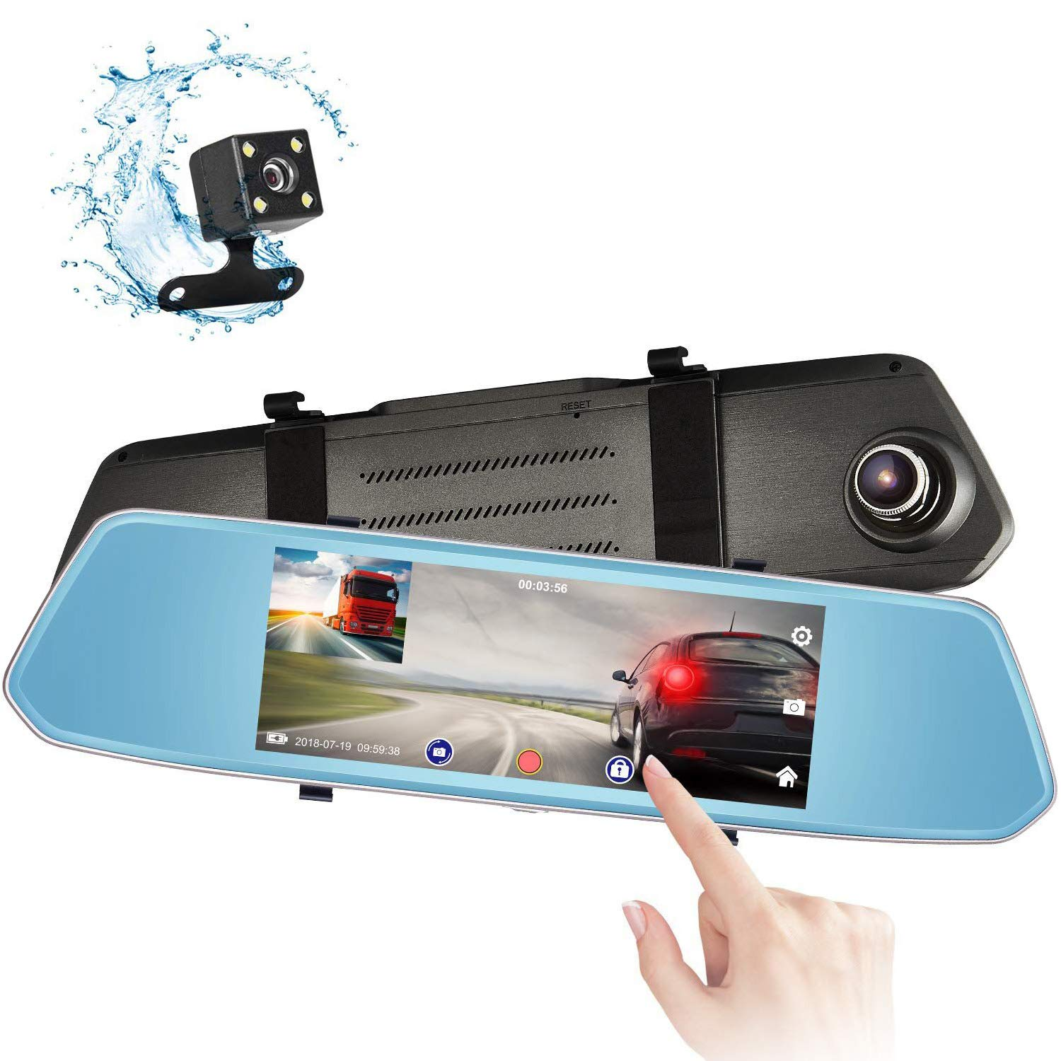 Eagle Eye Mirror Dash Cam 7'' Touch Screen 1080P Rearview Front and Rear Dual Lens Night Vision Reverse Camera Parking Assist
