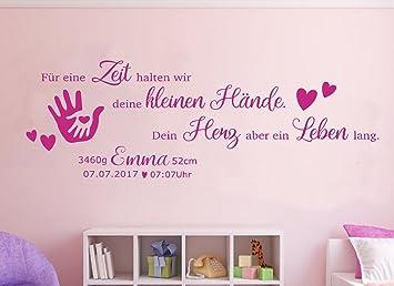 tjapalo® Wandtattoo Kinderzimmer Baby Geburt Wandtattoo Mädchen  Geburtsdaten Datum Name Wunschname pkm191-pk 100x33cm für eine Zeit halten  wir deine ...