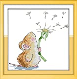 """eGoodn Stamped Cross Stitch Starter Kits Beginners Cross-Stitching Accurate Pre-printed Pattern - Little Mouse and Dandelion 11CT 12""""X12"""", Frameless (Printed Pattern Model ED03)"""