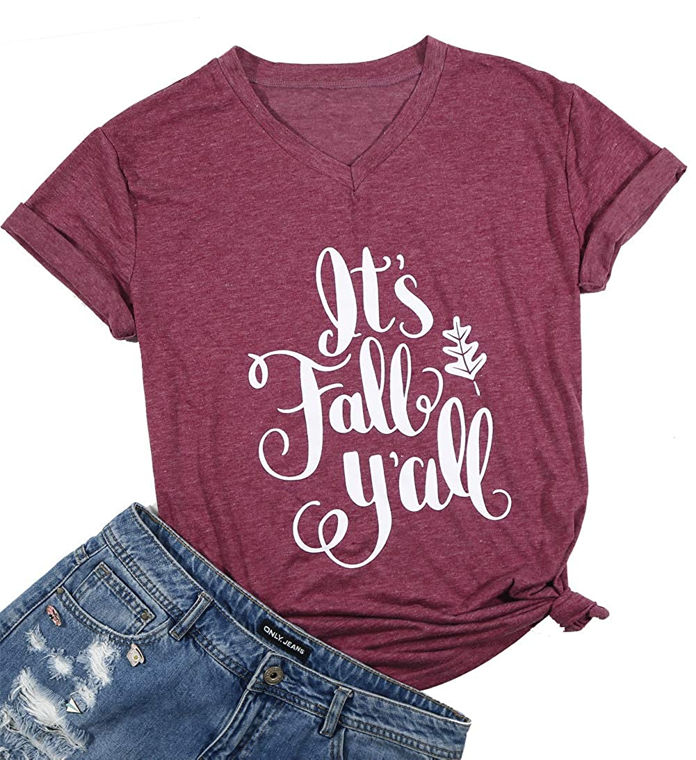 8548d7cb Amazon.com: It's Fall Y`All V Neck T Shirt Thanksgiving Shirt Women Funny  Cute Pumpkin Spice Everything Fall Graphic Tee Shirt: Clothing