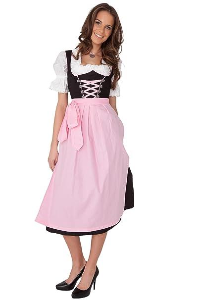3 piezas traje regional en negro con rosa claro Delantal ...