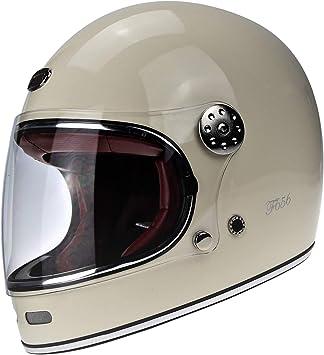 F656 Viper Fiberglass Helm Gringo Vintage Stil Retro 70s Custom Chopper Bobber Integrale Ece Dot Genehmigt Schlicht Weiss M 57 58 Cm Auto