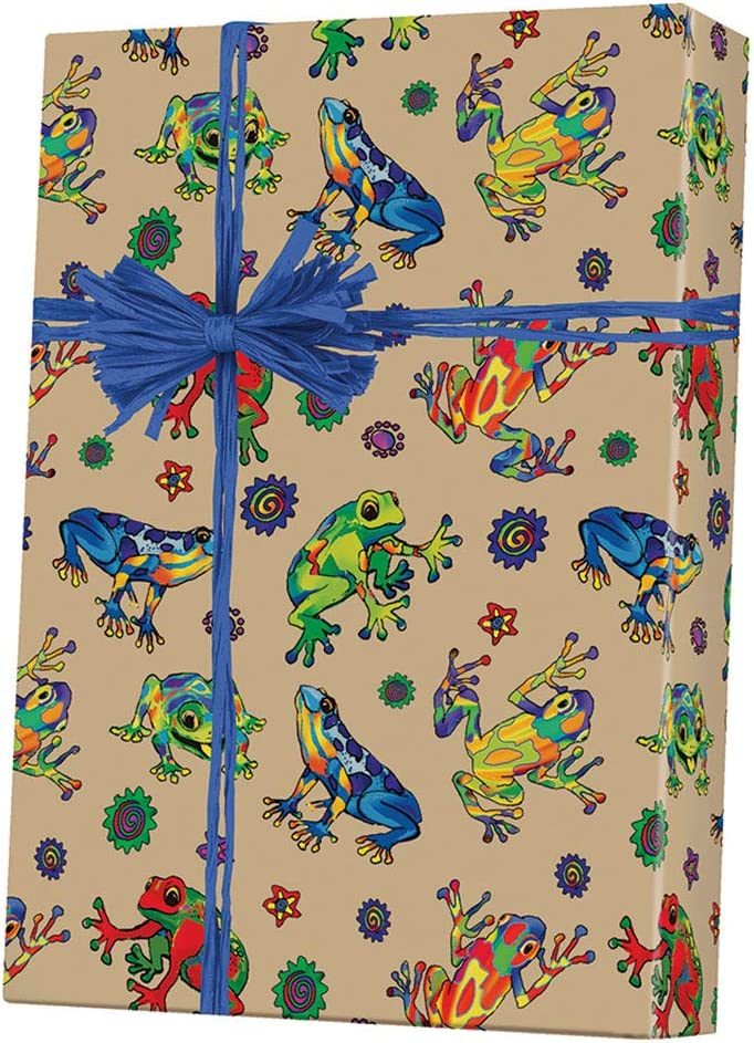 "Rain Forest Frogs Kraft Gift Wrapping Paper Roll - 24"" x 15'"