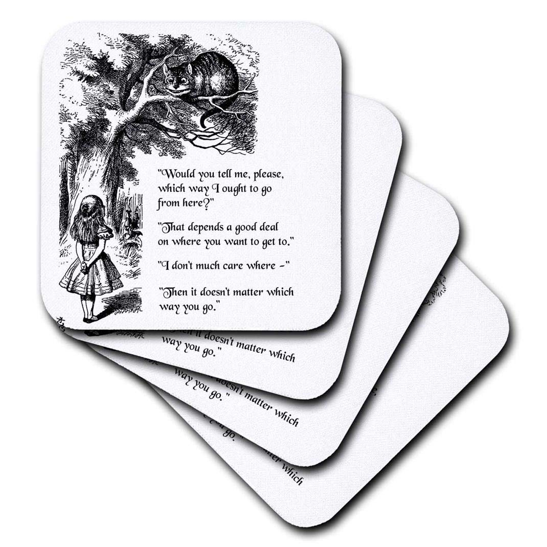 Set of 8 3dRose CST/_193784/_2 Which Way Ought I Go from Here Chesire Cat Alice in Wonderland Quote Soft Coasters