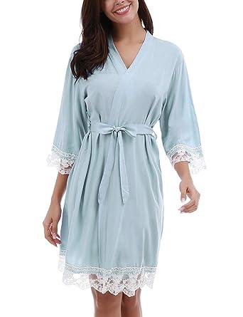 Unbranded Women s Lightweight Knee Length Kimono Bridesmaids Spa Robe  (Light Blue S) 9925f83f7