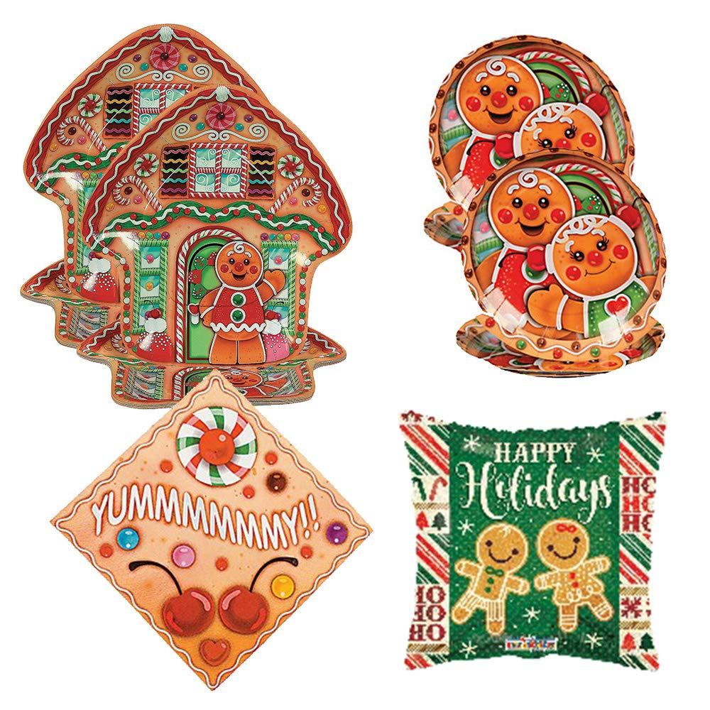 RazzleDazzleCelebrations Candy Town Gingerbread House Party Supplies Napkins Balloon Razzle Dazzle Celebrations Large and Small Plates 16 Guests