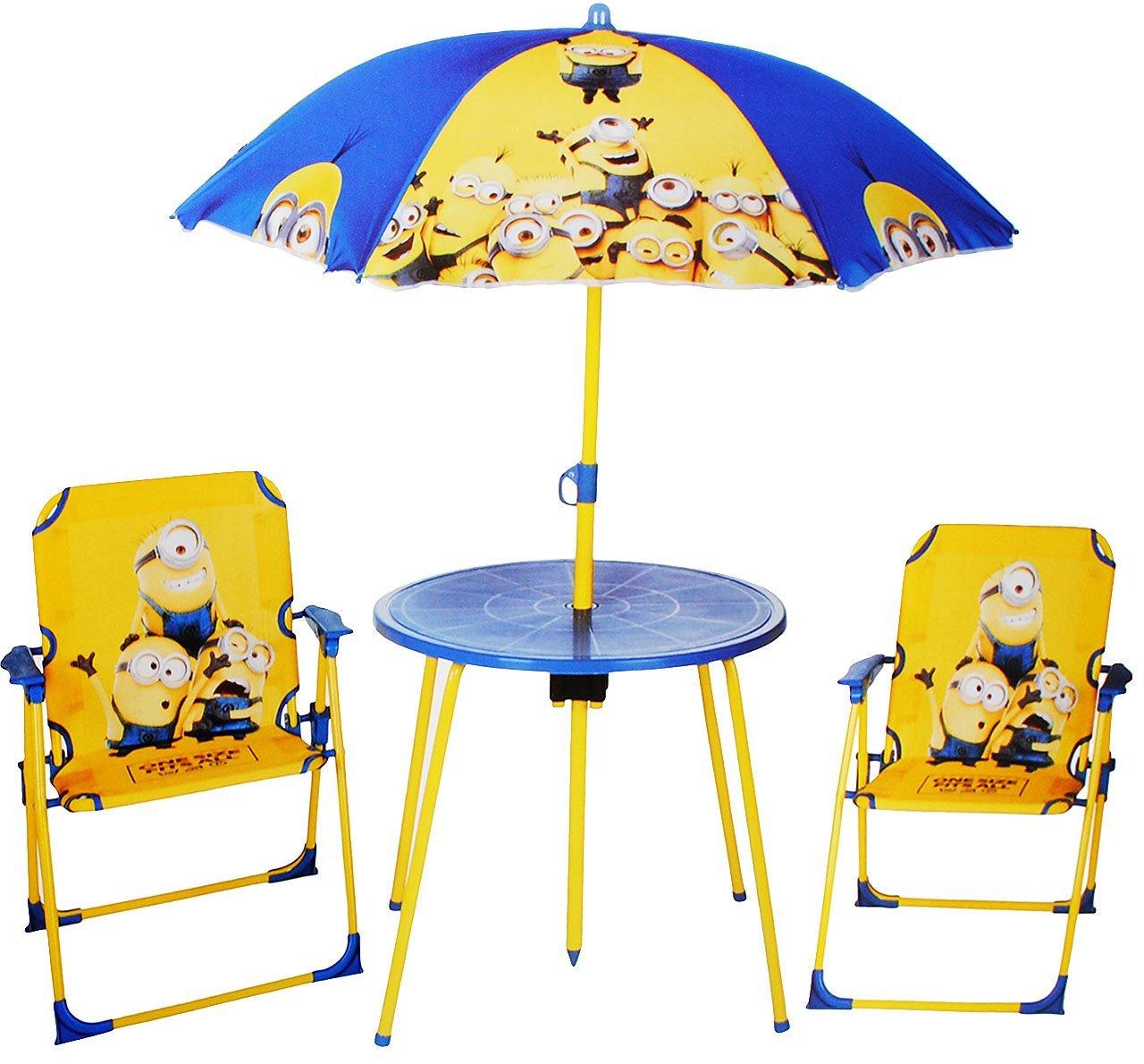 alles-meine.de GmbH 4 TLG. Set: Sitzgruppe - Tisch + 2 Kinderstühle + Sonnenschirm - Minion - Ich einfach unverbesserlich - für Kinder - Campingstuhl - Klappstühle / kippsic..